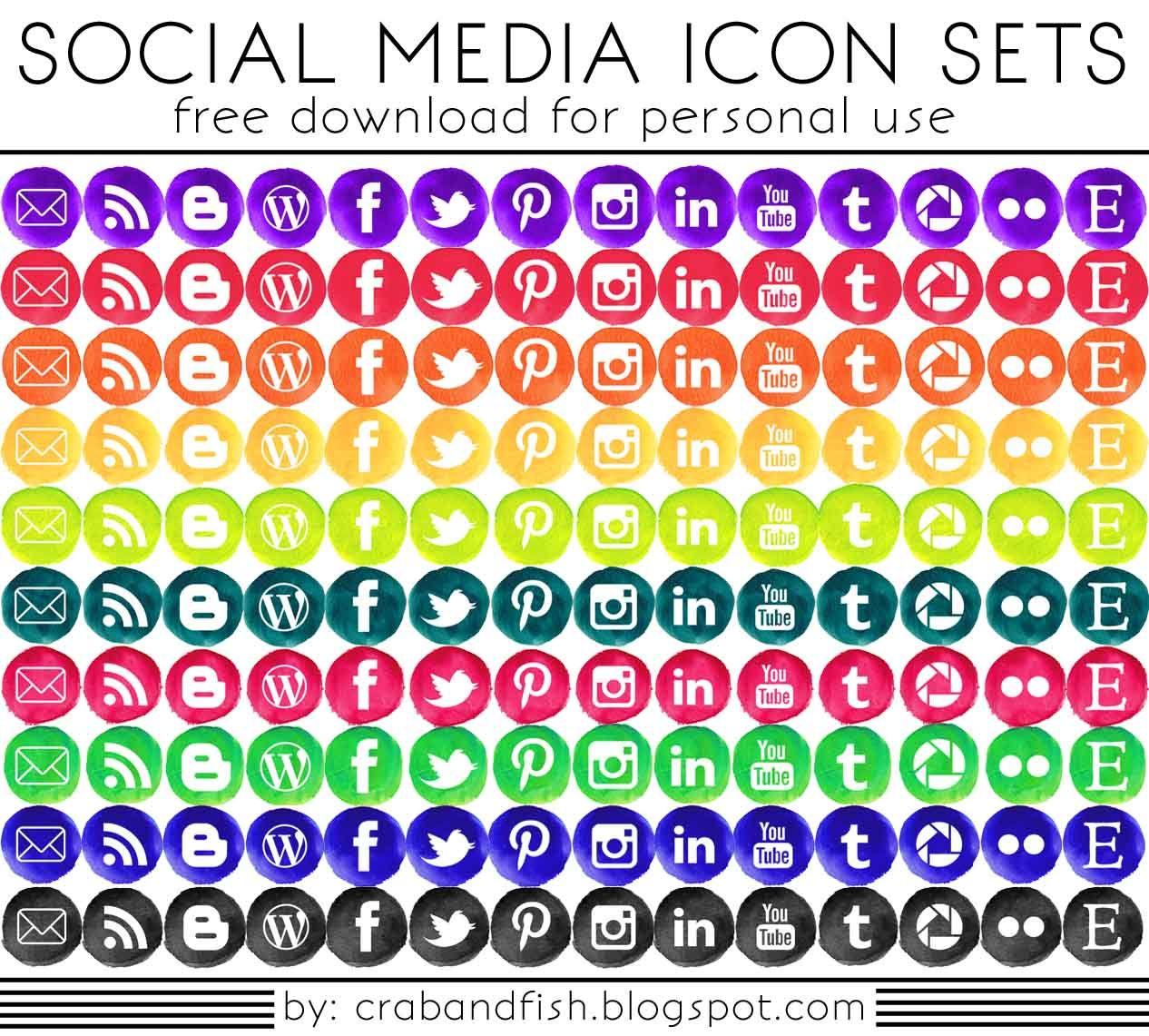 140 FREE Watercolor Social Media Icons crab+fish