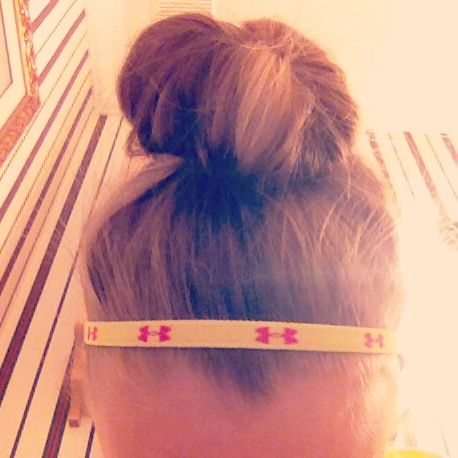 Under armour headband! Love the colors-- reminds me of a softball