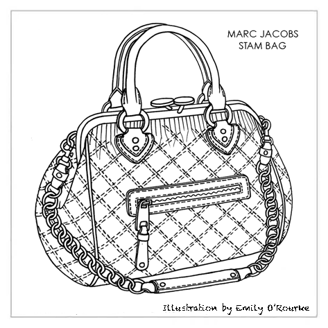 MARC JACOBS - STAM BAG - Iconic Famous Designer Handbag Illustration / Sketch / Drawing / CAD / Borsa Disegno / Product illustrator / Product Design / Illustrazioni Borse /  styliste sac à main