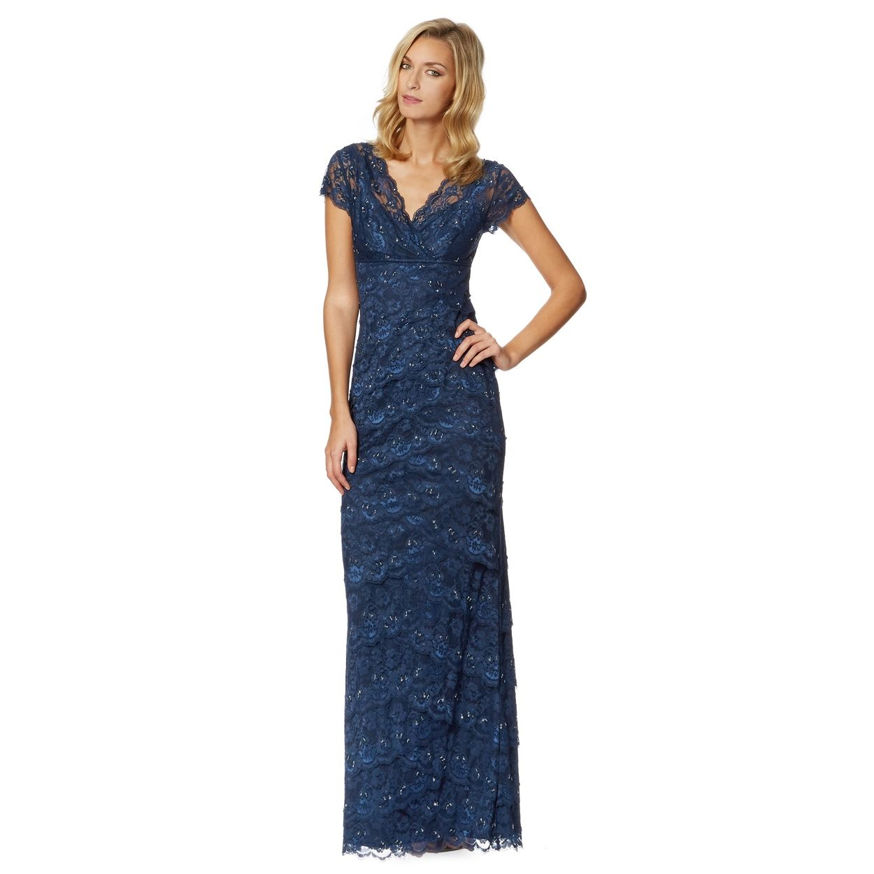 Dark blue beaded lace maxi evening dress lace maxis and dark