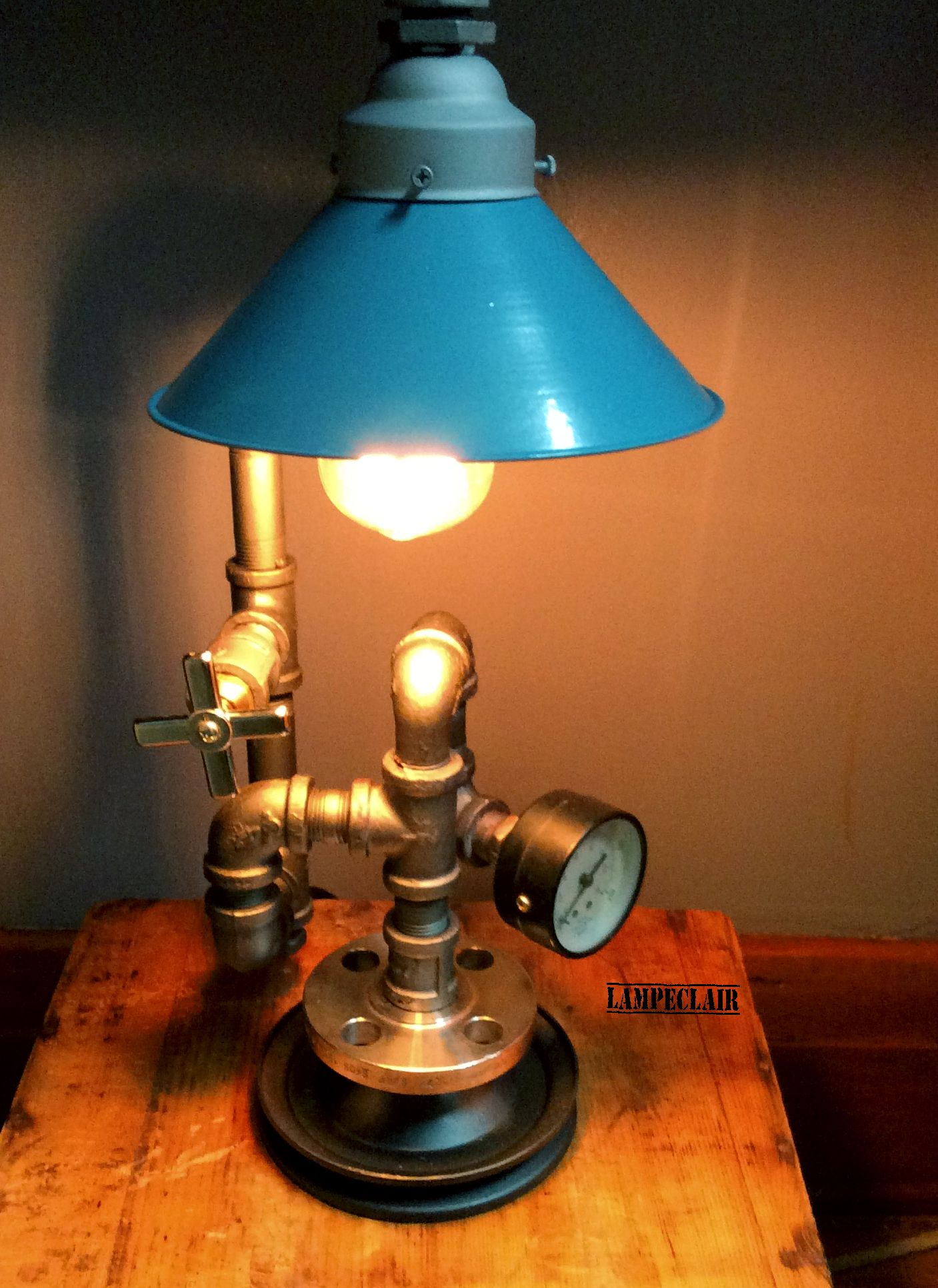 industrial style lamp and stgeampunk it is made of. Black Bedroom Furniture Sets. Home Design Ideas