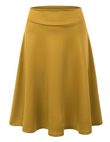 43de8004c7064 Doublju Elastic High Waist A-Line Flared Midi Skirt (Made ...