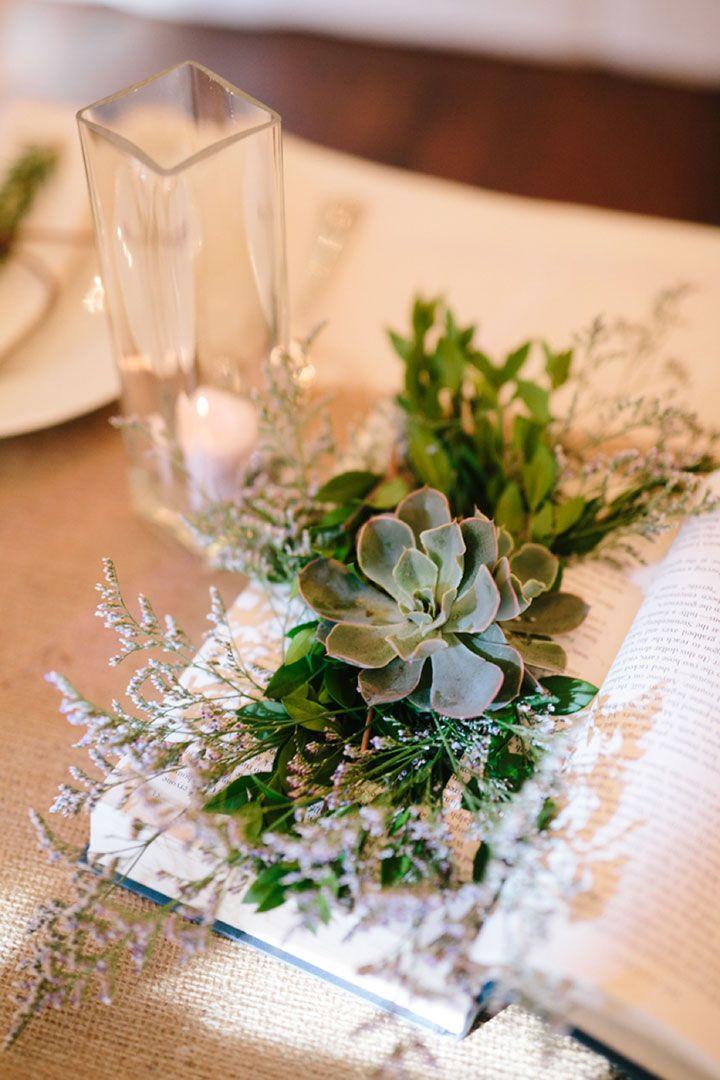 Clever DIY Book & Succulent Wedding Centerpieces