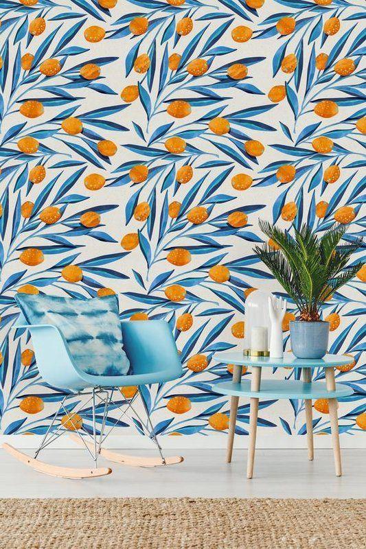 Santamonica Removable Leave And Kumquat 4 17 L X 25 W Peel And Stick Wallpaper Roll Peel And Stick Wallpaper Wallpaper Roll Removable Wallpaper