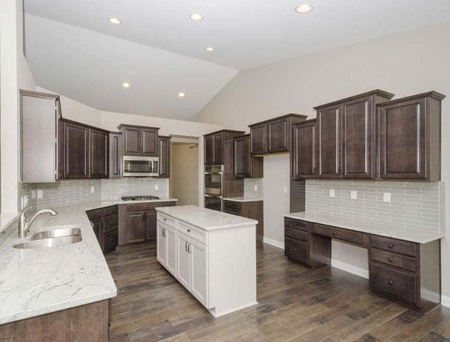 Radford Square Maple Flagstone perimeter cabinets with ... on Gray Countertops With Maple Cabinets  id=68830