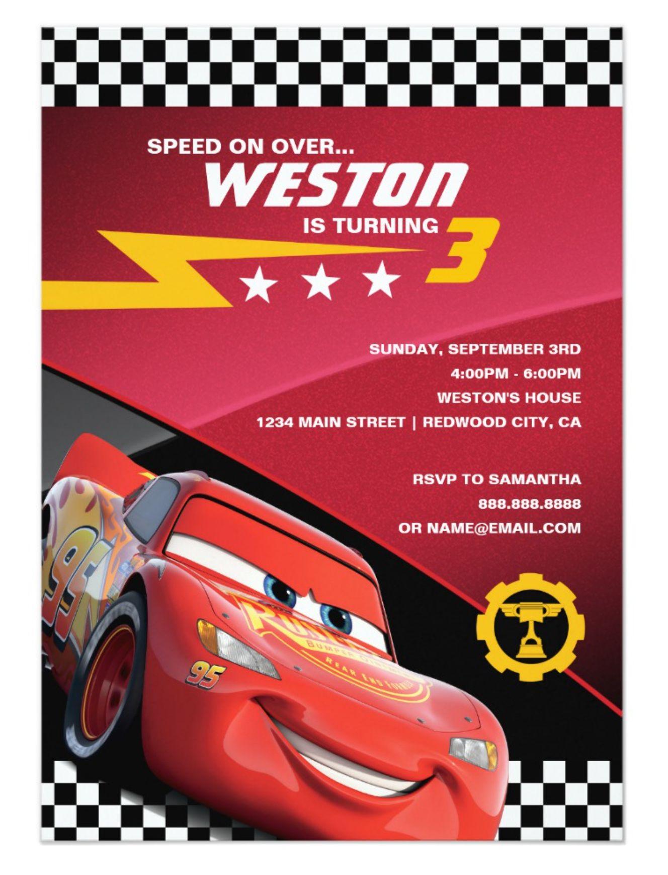 Cars Birthday Party Invitation with Envelope Disneys Cars