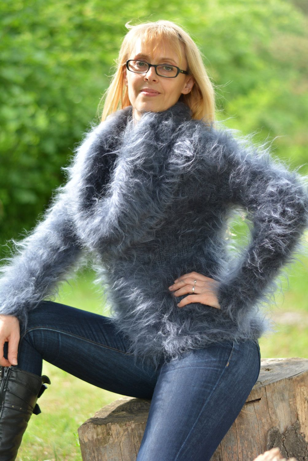 mohair sweater hand knitted cowlneck sweater fuzzy cowl sweater ...