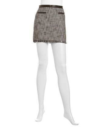 Tweed Leather-Trim Mini Skirt, Black by Rebecca Taylor at Neiman Marcus Last Call.