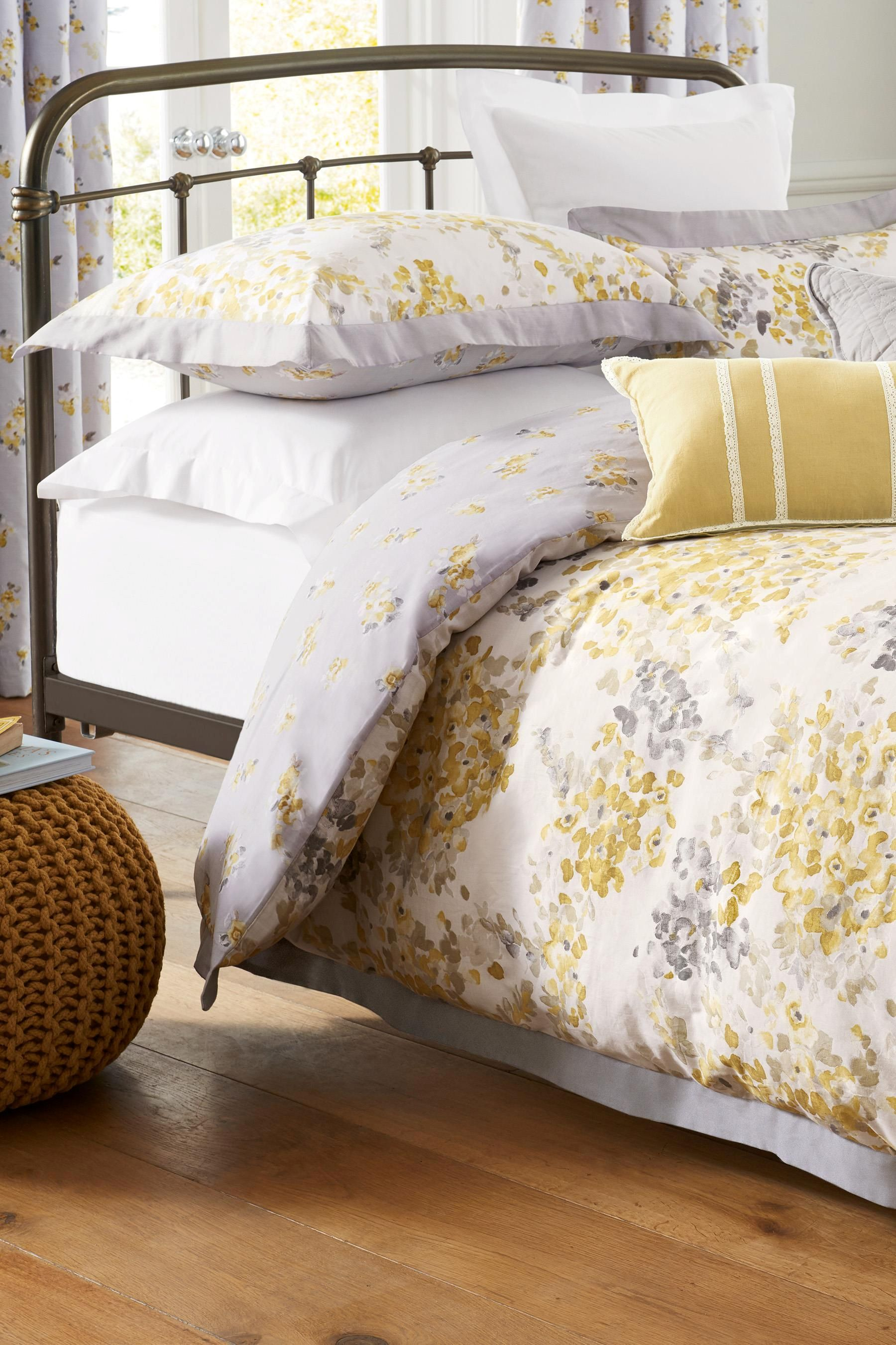 Buy Cotton Sateen Ochre Watercolour Floral Bed Set From The