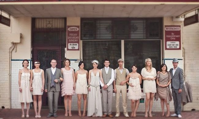 This bridal party was a perfect mix of vintage + modern from this wedding photographed by Paper + Lace Photography.