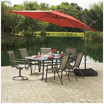 Wilson Fisher Solar Offset 11 Rectangular Umbrella Patio Rectangular Umbrella Patio Umbrellas