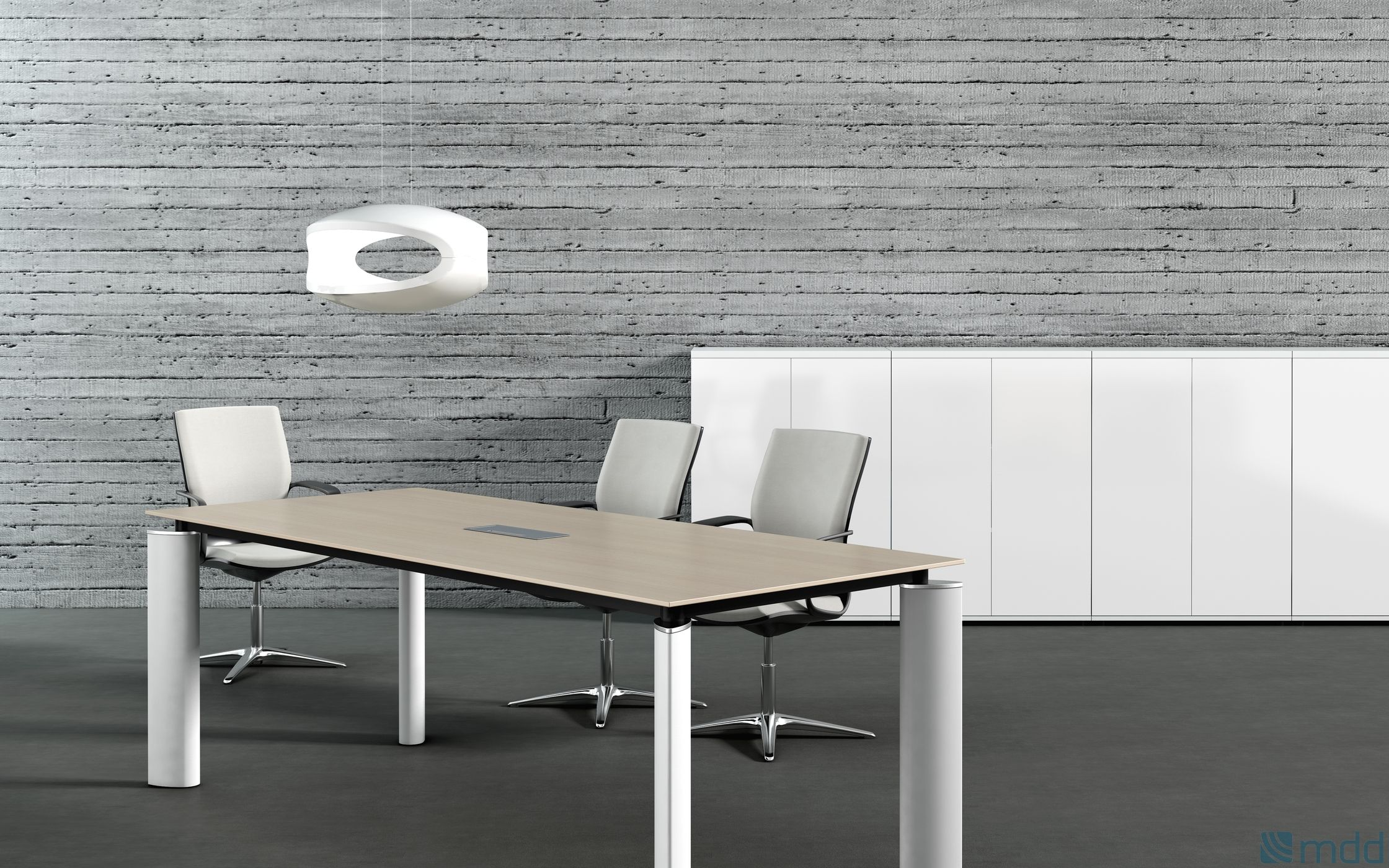 Meeting Table in Canadian Oak with White Legs Table