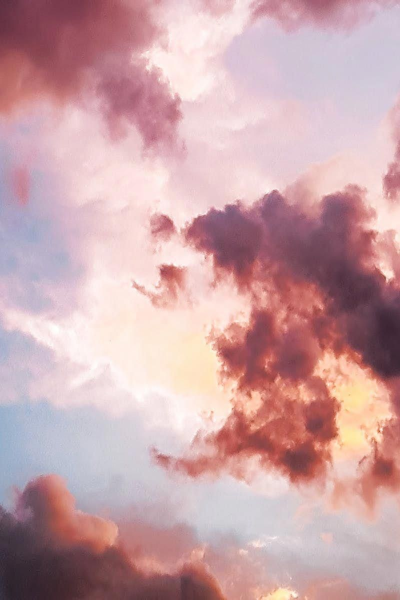 Down Angle Photography Of Red Clouds And Blue Sky Iphonepics Mobile Wallpaper Clouds Aesthetic Wallpapers