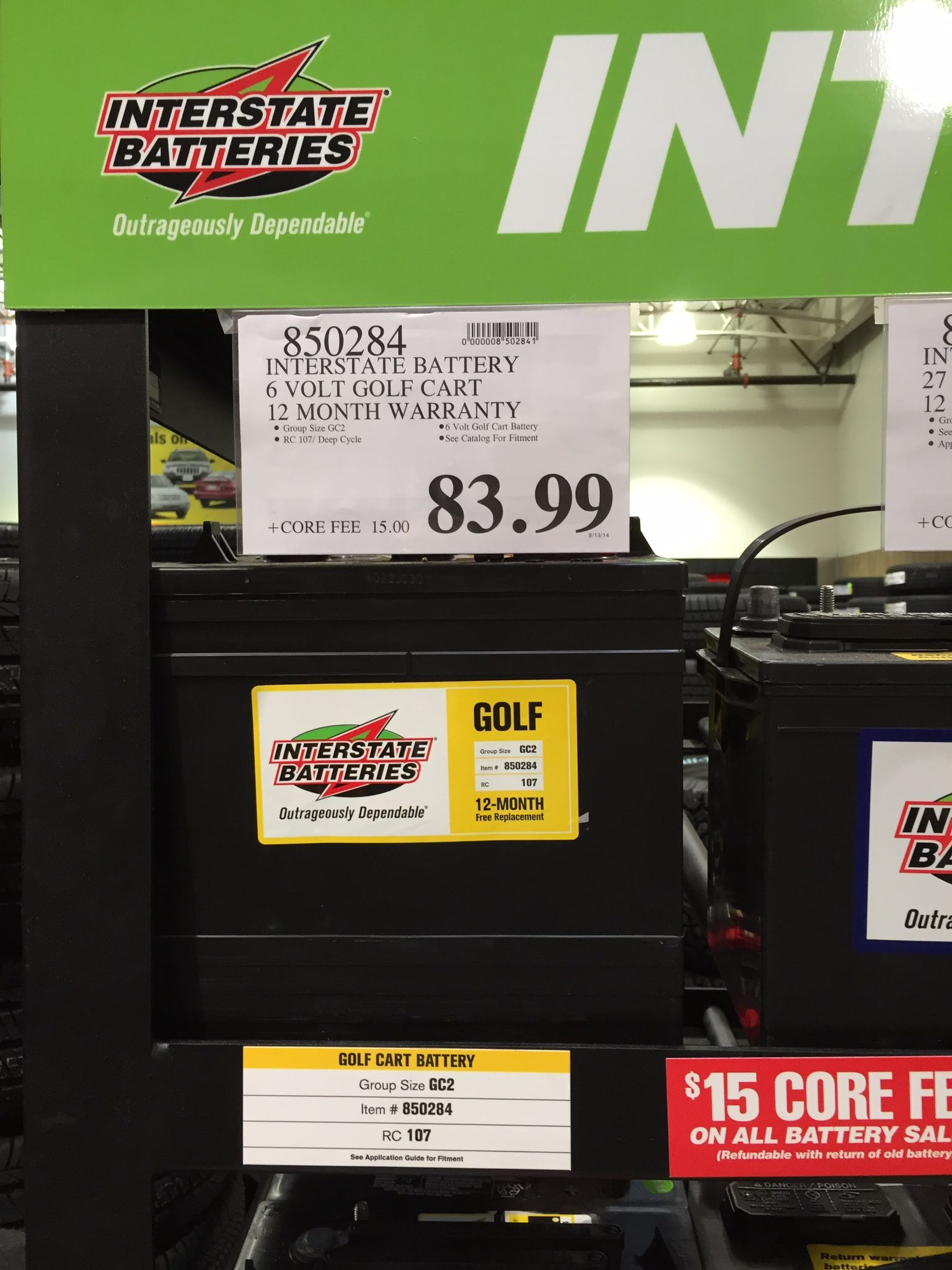 6 volt golf cart batteries from Costco for solar bank