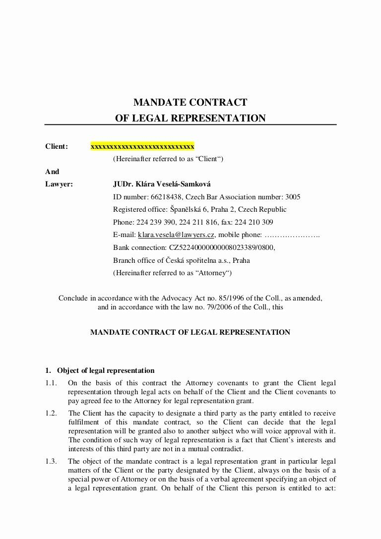 Letter Of Representation Sample Lovely Mandate Contract