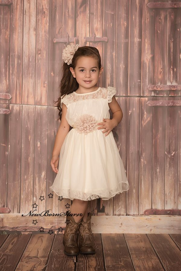 Ivory beige chiffon flower girl dress rustic wedding for Country wedding flower girl dresses