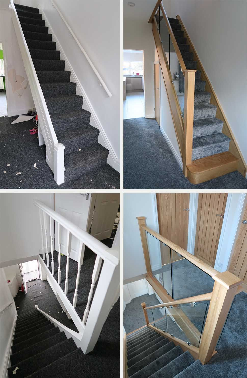 Before And After Glass And Wood Staircase Renovations   Medlock Staircases