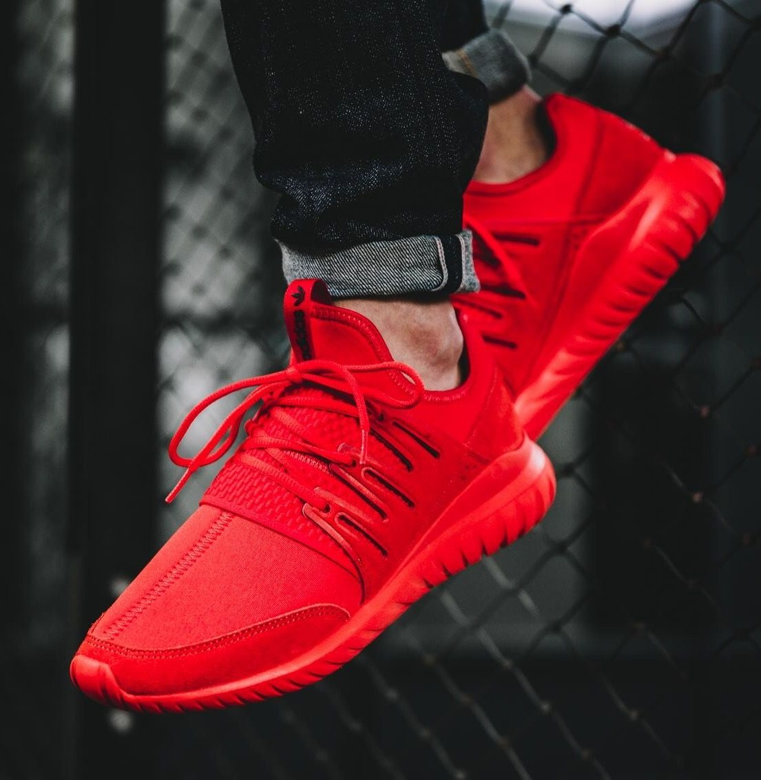 adidas tubular on feet red