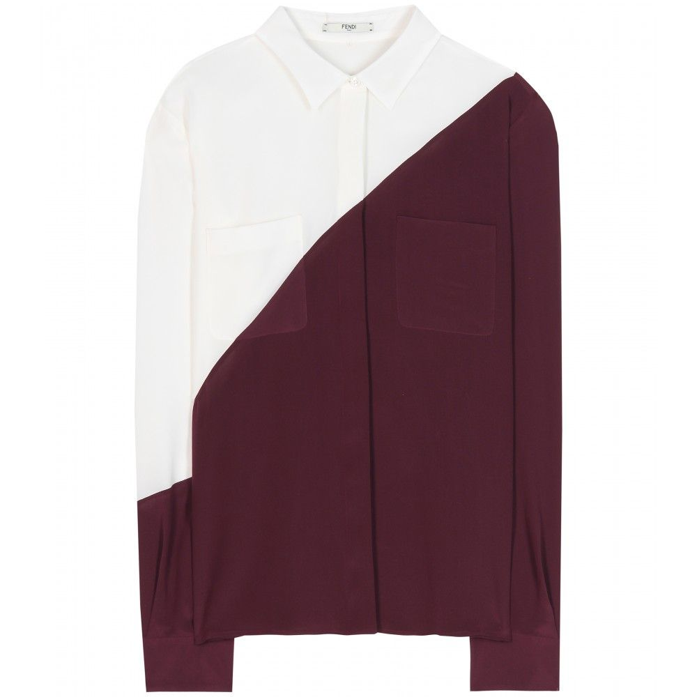212c9d93ddc mytheresa.com - Silk shirt - Long-sleeved - Tops - Clothing - Fendi ...
