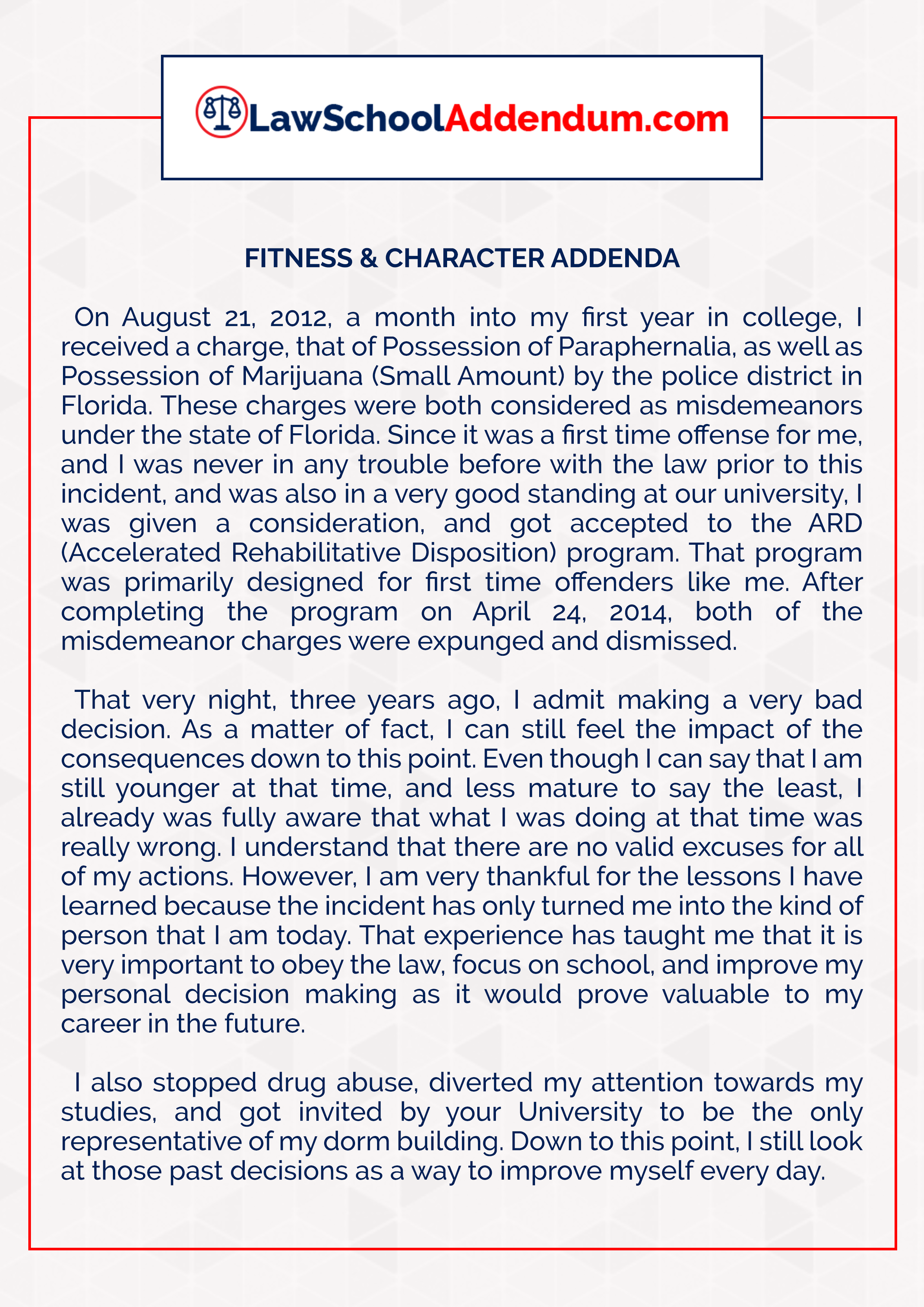sample addendum essay Disclaimer: this essay has been submitted by a student this is not an example of the work written by our professional essay writers you can view samples of our professional work here any opinions, findings, conclusions or recommendations expressed in this material are those of the authors and do .