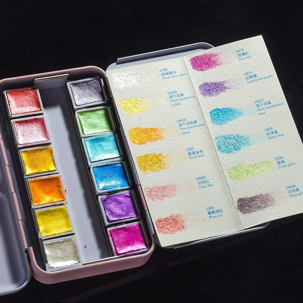 48 Paul Rubens Artist Watercolor Paints Glitter Solid Colors