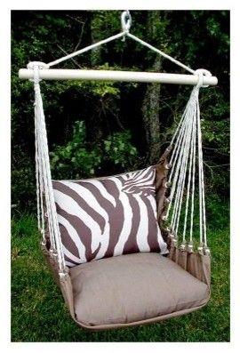 Superb Magnolia Casual Zebra Print Hammock Chair And Pillow Set Inzonedesignstudio Interior Chair Design Inzonedesignstudiocom