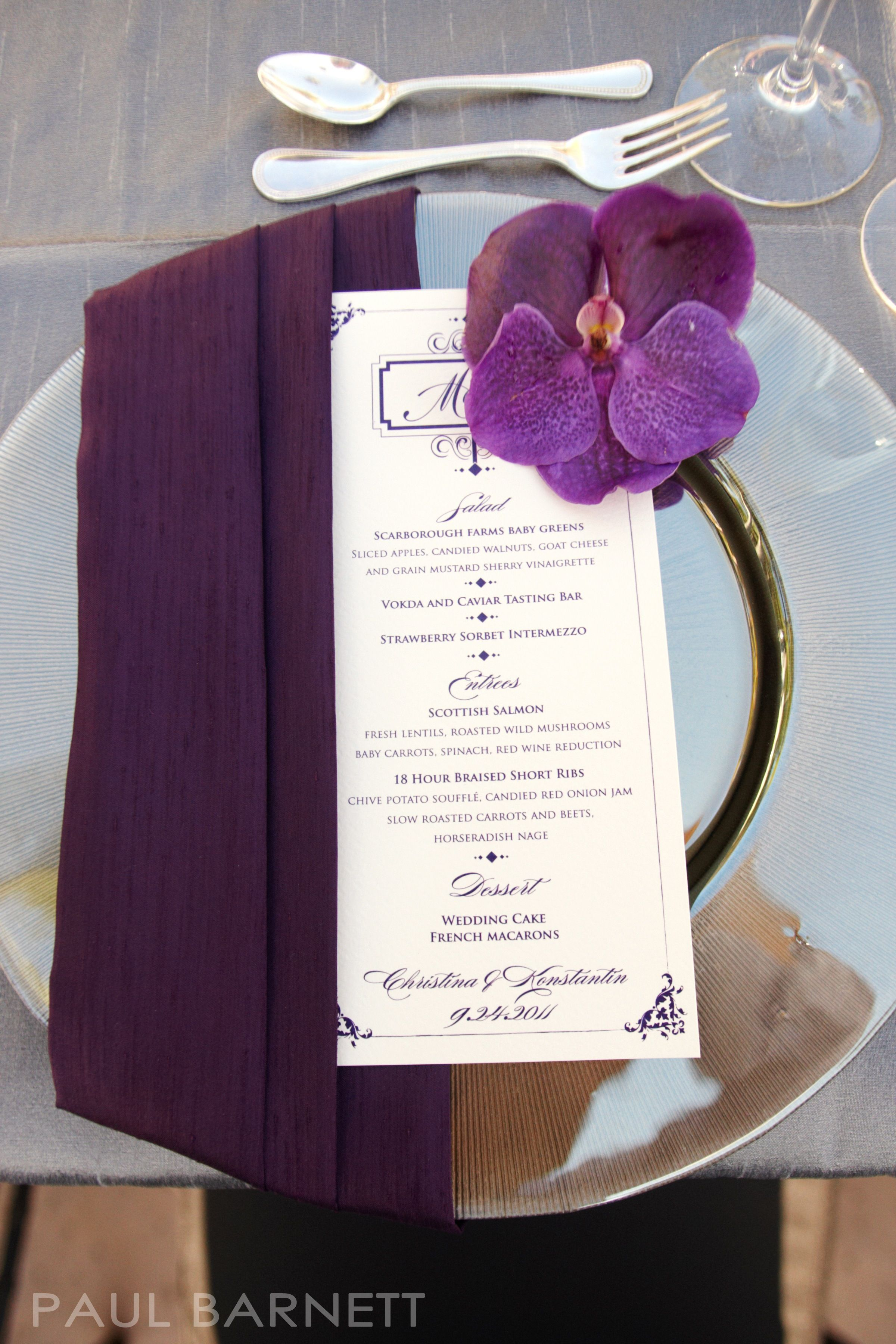 Purple Vanda orchid accent on charger place setting | Tabletop ...