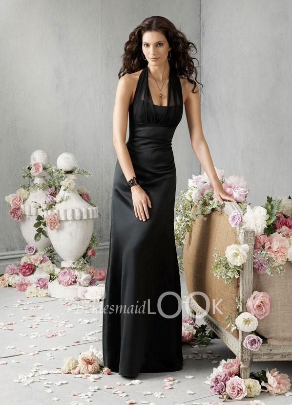 Black Satin Strapless A Line Long Bridesmaid Dress With Chiffon Halter Neck