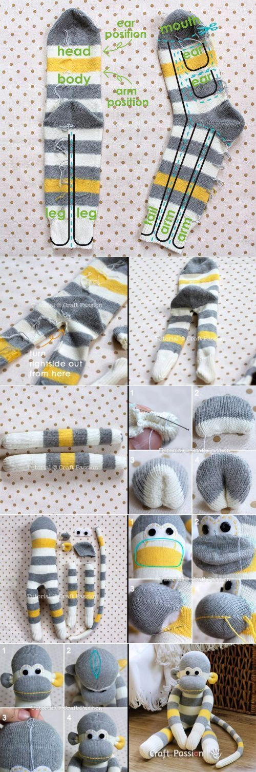 El juguete el Mono del calcetín - MK. // Irina @   DIY Juguetes ...