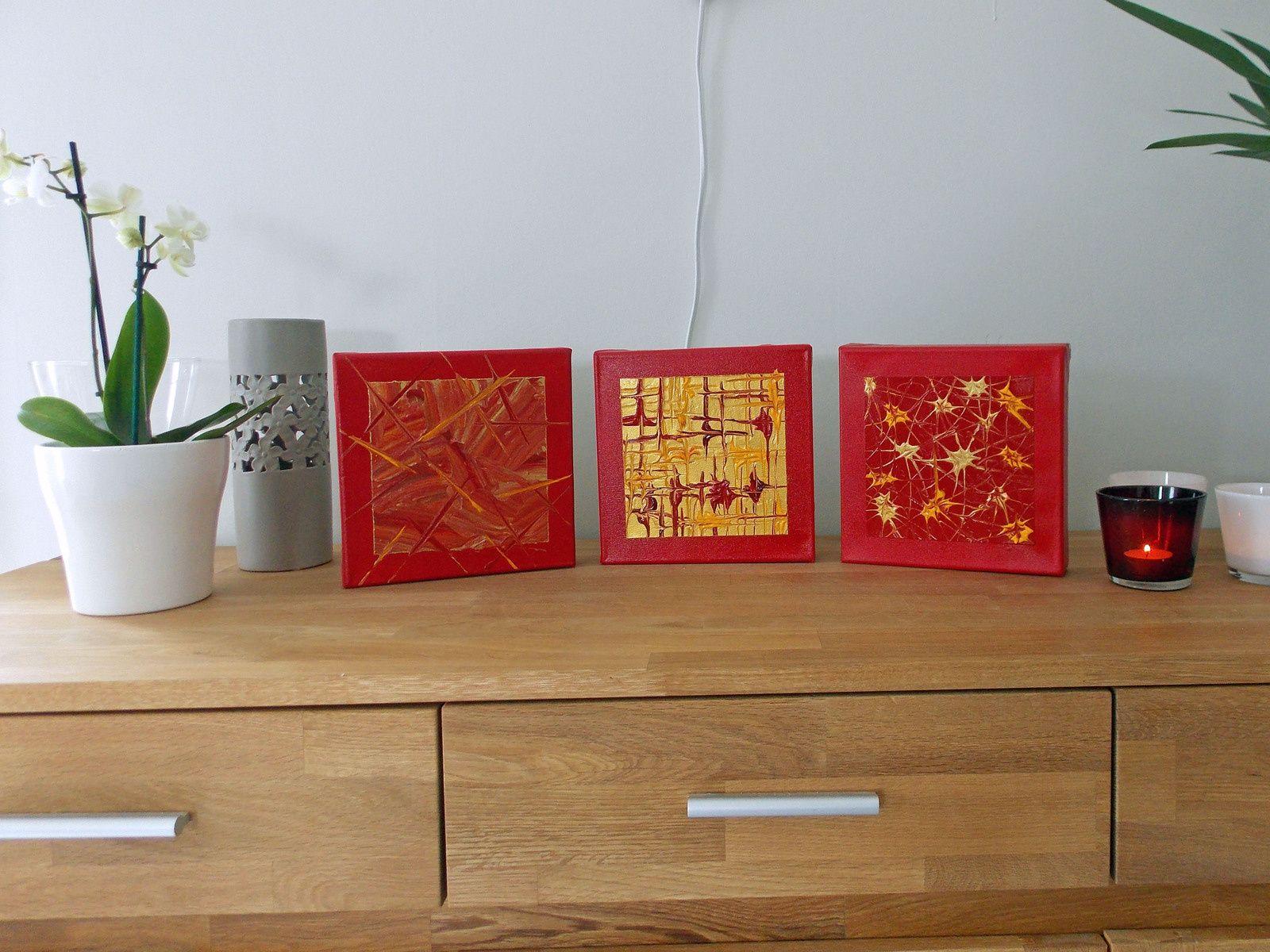 Décoration Tableau Mural Triptyque Rouge Or Doré