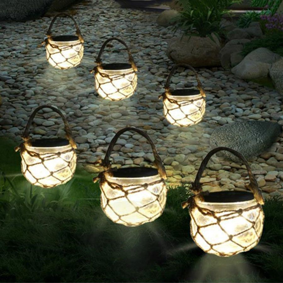Thrisdar 3pcs Mason Jar Solar Garden Fairy Light Retro Outdoor Hanging Lanterns Ball Light F Solar Garden Fairy Lights Fairy Lights Garden Hanging Solar Lights