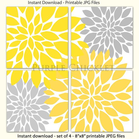 Yellow Gray Flower Burst Wall Art Blossoms Botanical Yellow ...