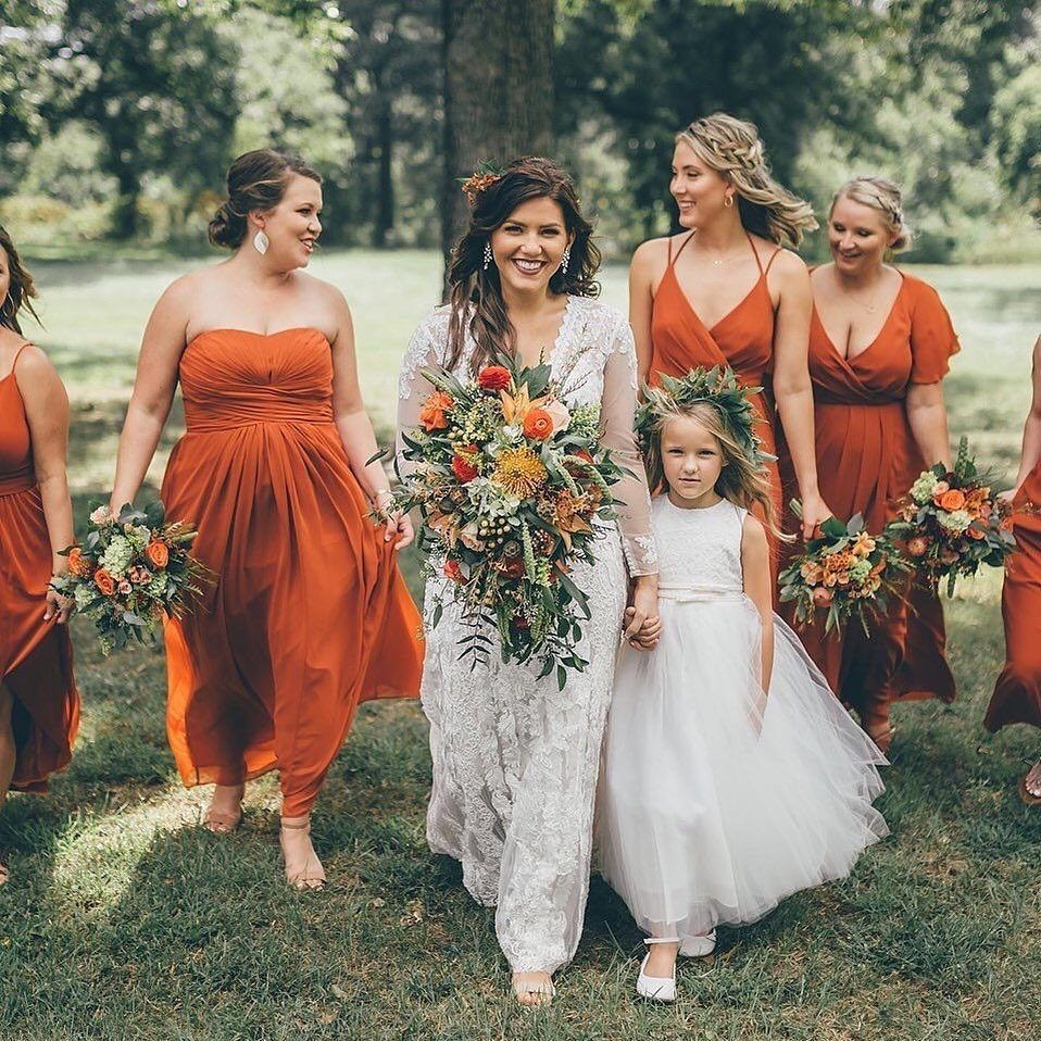 Bridesmaid Dresses Gowns 100s Of Styles Under 120 David S Bridal Orange Bridesmaid Dresses Burnt Orange Wedding Dress Orange Dress Wedding [ 958 x 958 Pixel ]