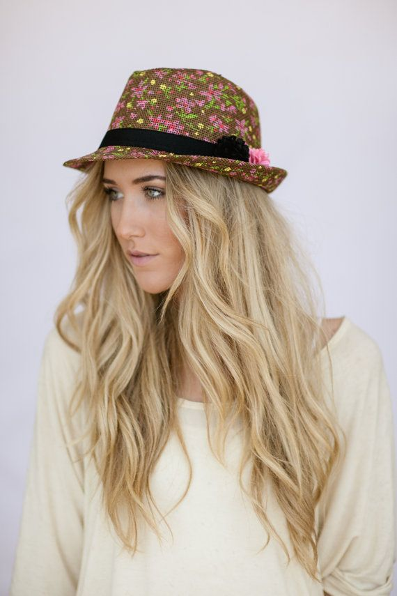 Items similar to Floral Fedora Hat for Women with Felt Flower Pins Cute  Ladies Fashion Fedora Hat TIny scale Flower Print on Brown Straw Fedora on  Etsy f2d6a7541a8