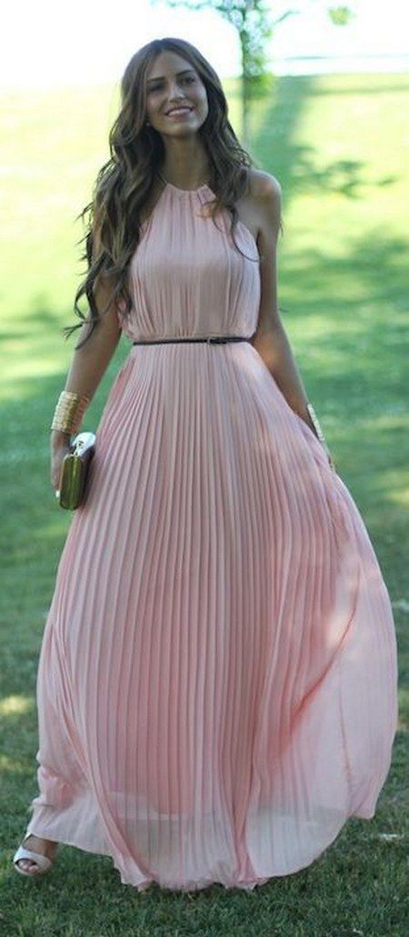 Light Pink Pleated Maxi Dress by Lady Framboise / http://www.himisspuff.com/wedding-guest-dress-ideas/5/
