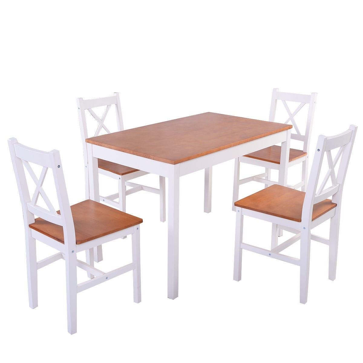 Kitchen bistro set  Costway PCS Pine Green Wood Dinette Dining Set Table and  Chairs