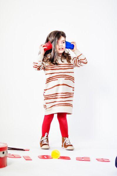 Nadadelazos: Girls sweatdress Mud Stripes - Organic kids clothes / CozyKidz.net