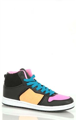 High Top Sneaker with Neon Color Blocks and Turquoise Laces