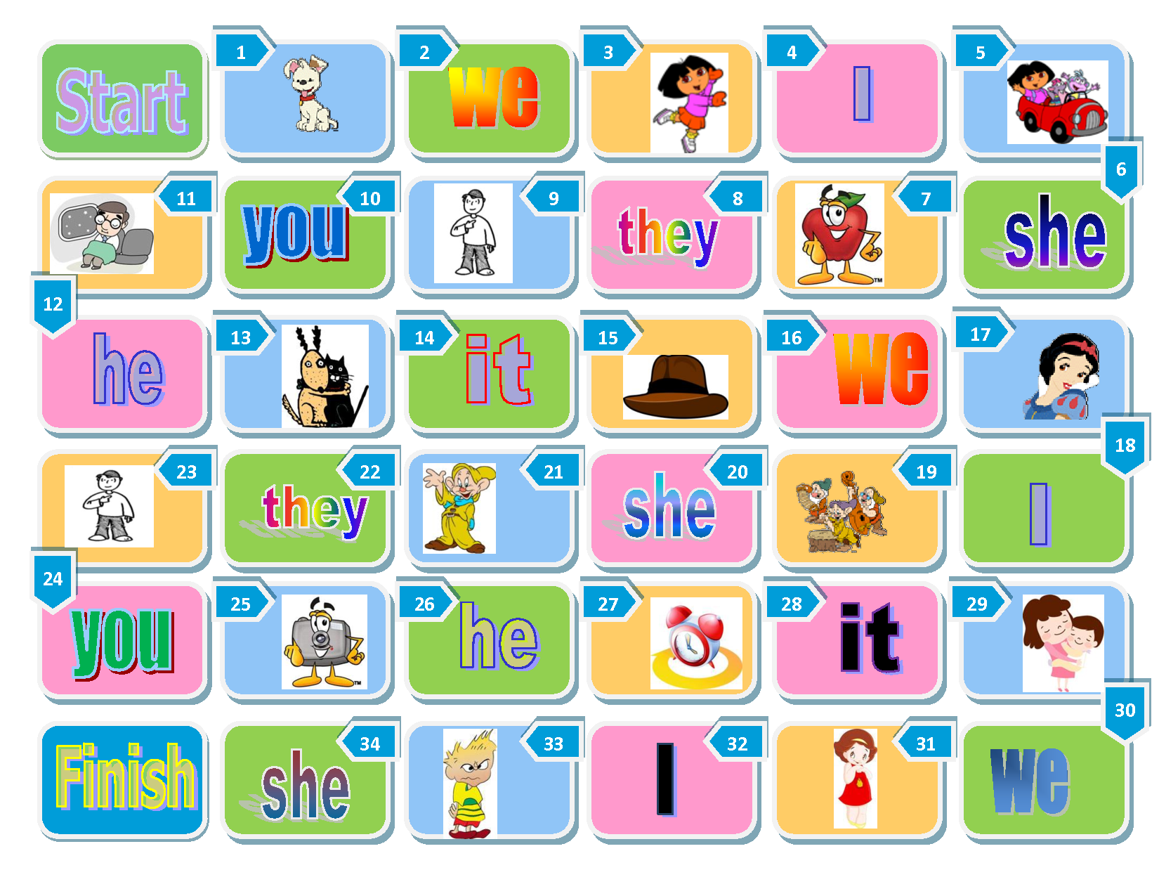 Pictures For Pronoun Board Game