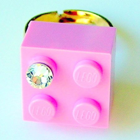 Light Pink LEGO R brick 2x2 with a Diamond by MademoiselleAlma, $13.99 #LEGO
