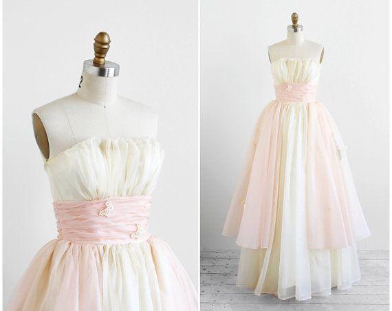 vintage 1950s wedding dress / pink wedding dress / 50s White and ...