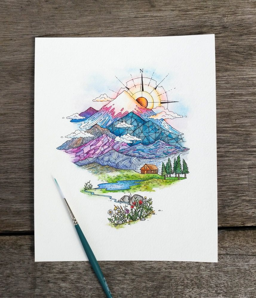 Image Of Polychromatic Escape Illustration Art Watercolor Ink