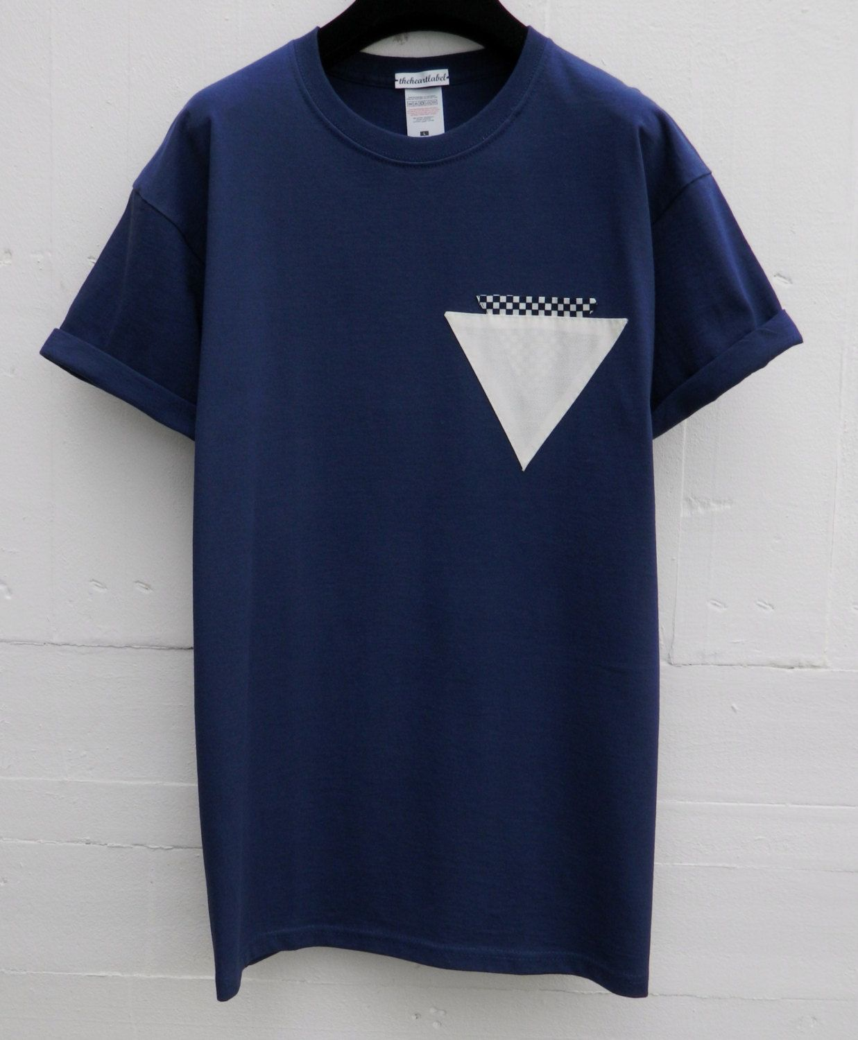 Design your own ethical t shirt - Men S Triangle Checkers Pocket In Pocket Pattern Navy Pocket T Shirt Men S T Shirt Pocket Tee Menswear Uk Custom Made T Shirts