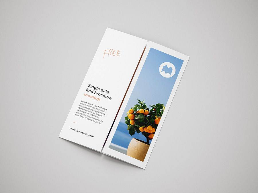 Free Single Gate Fold Brochure Mockup Mockups Design Brochure Brochure Design Corporate Brochure Design