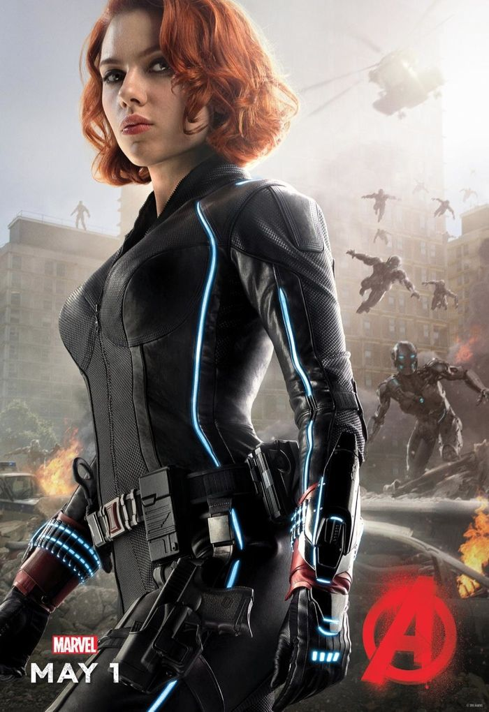 Scarlett Johansson As The Black Widow In Avengers Age Of Ultron Movie Poster Her Suit Is Equipped With LED Lights