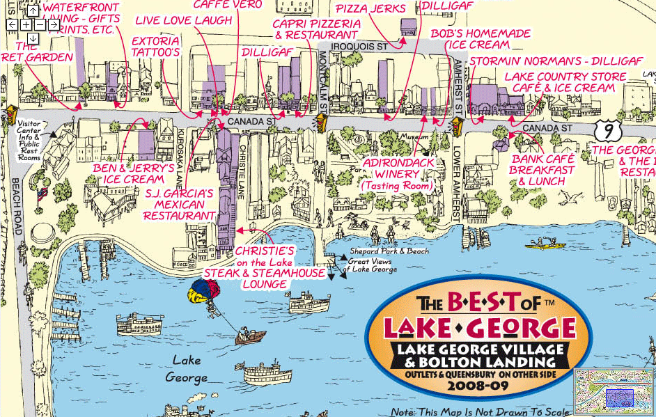 lake george tourist map The Strip The Main Shopping And Tourist Areas Along The Shores lake george tourist map