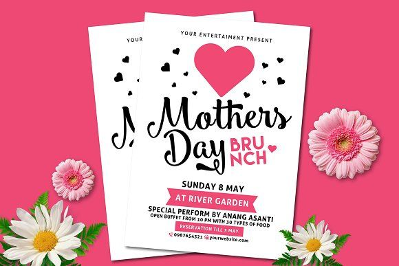 Mothers Day Brunch by muhamadiqbalhidayat on @creativemarket - mothers day flyer