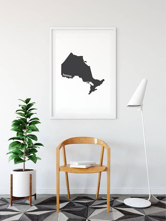 ontario print map art canada day canadian decor canada decor modern - Home Decor Canada