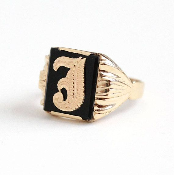 Sale Vintage 10k Rosy Yellow Gold Black Onyx Initial Letter J Signet Ring Late Art Deco 1930s Size 10 1 4 Men Antique Mens Jewelry Mens Jewelry Vintage Men