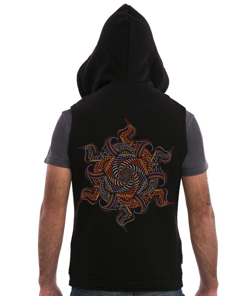 Mens Vest With Hoodie, Psychedelic Hooded Vest Jacket, Hood Vest, Psy, Visionary Art, Burning Man Clothing, Festival Fashion